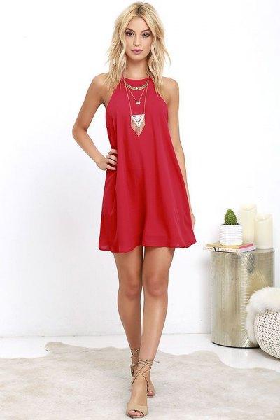 röd slida klänning i boho stil