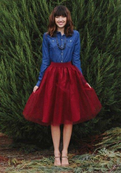 Burgundy kjol denimskjorta