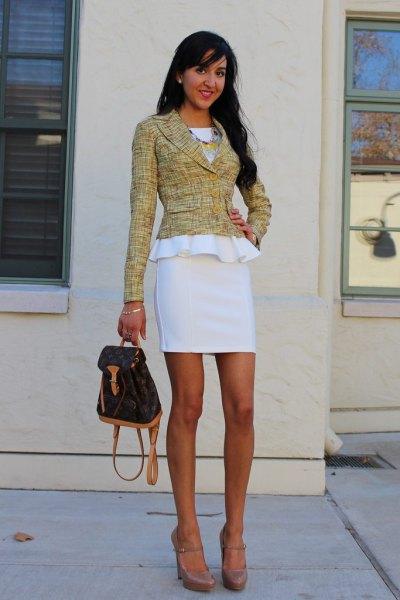 vit peplum klänning tweed jacka
