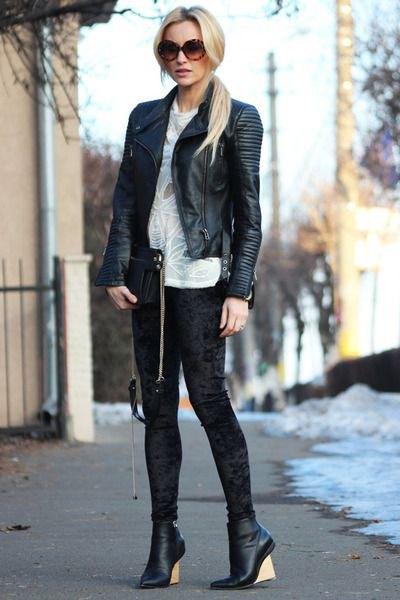 svart bomberjacka i läder
