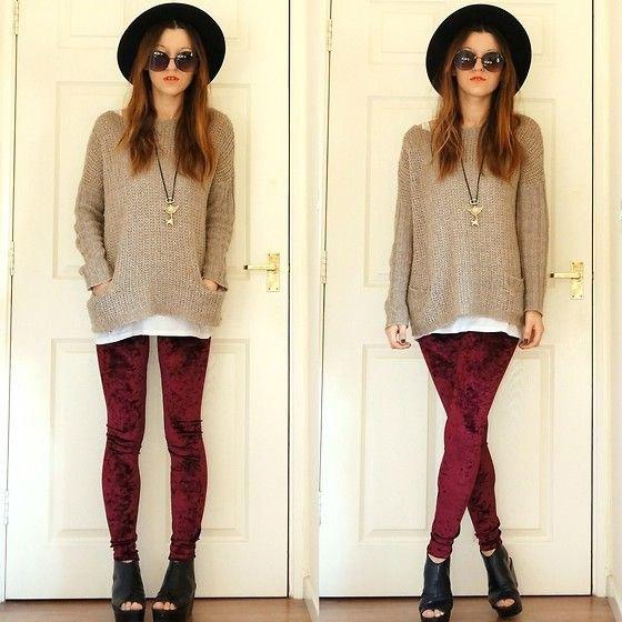 vinröd leggings grå bekväm stickad tröja