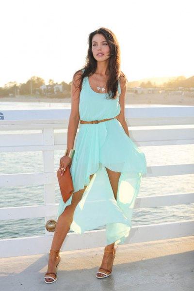 Bälte hög låg ljusblå maxi tank klänning