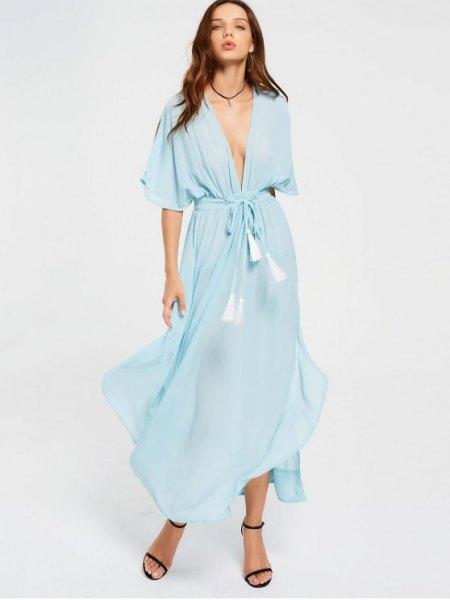 Slips ljusblå maxi chiffongklänning med klackar med öppna tå