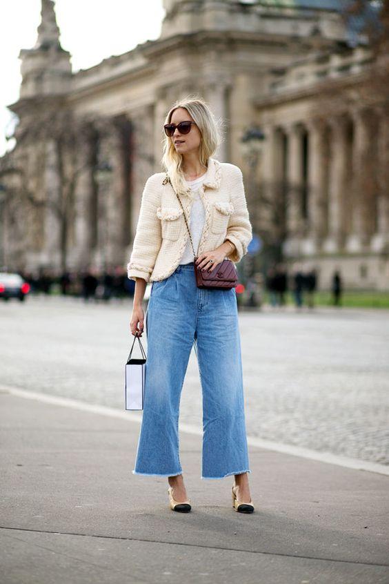 korta jeans med klockbotten