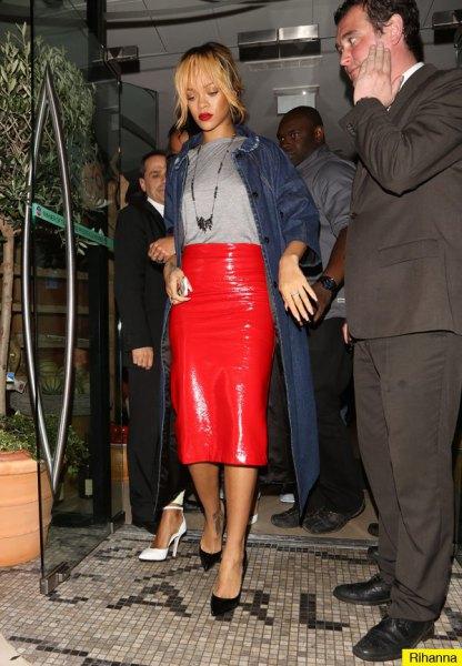 röd läder midi penna kjol maxi jeansjacka