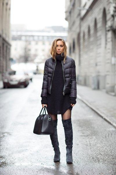 svart pufferjacka kjol knä höga stövlar