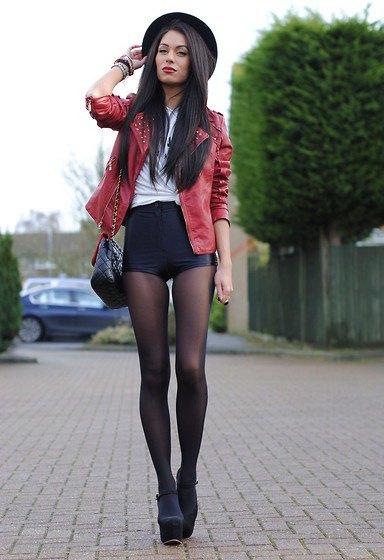 Blazer mocka blazer med lädershorts och strumpor