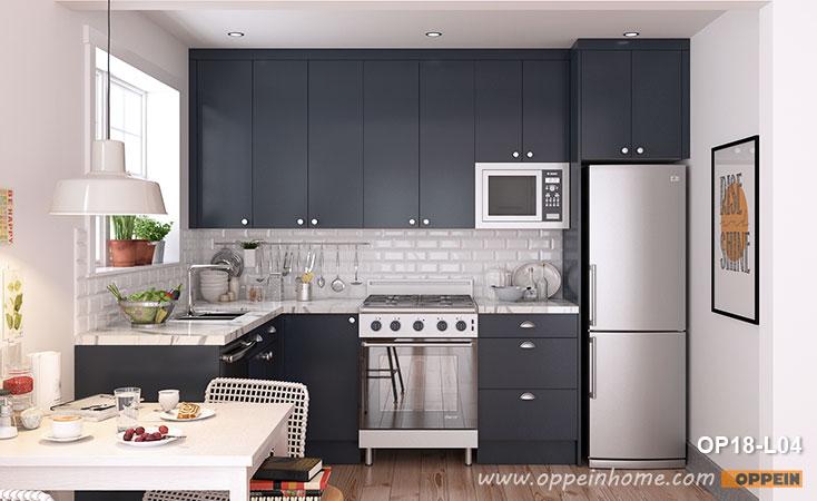 Litet L-format marinblått köksskåp OP18-L04- OPPEIN |  Den.