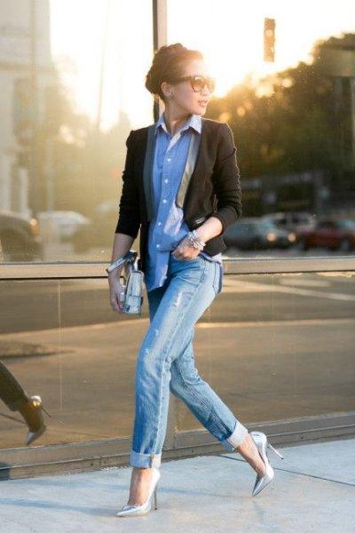 Jeansjacka i svart blazer