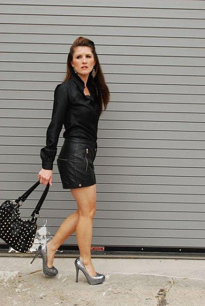 svart skjorta läder mini kjol