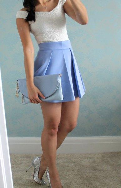 vit topp baby blå veckad minikjol