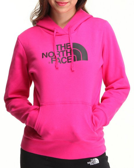 North Face pullover-luvtröja i rosa färg med svarta sportnylonbyxor