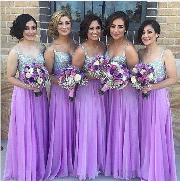 silver och lila chiffong veckad maxi brudtärna klänning