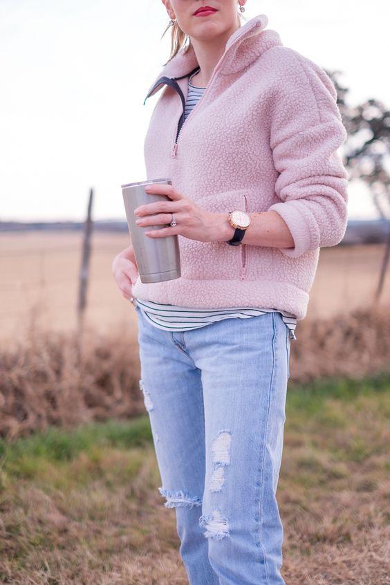 randig fleece-tröjablus