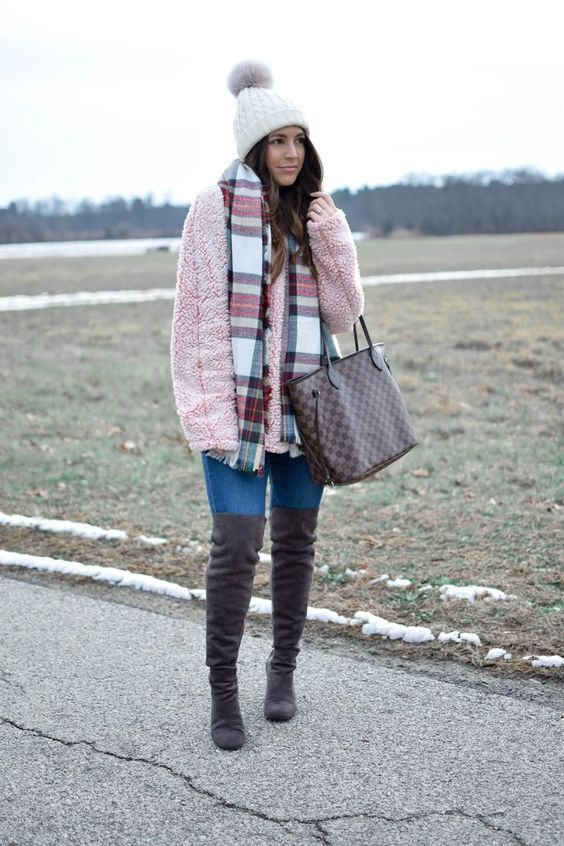 Lårhög fleece tröja stövlar