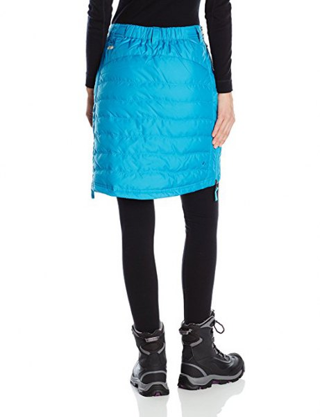 himmelblå knälång dun kjol med svarta leggings