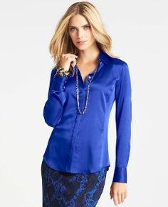 kungsblå sidenskjorta svart midi bodycon kjol