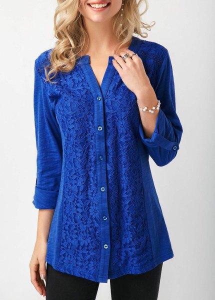 kungsblå linne toppskjorta