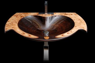 Lyxiga tvättställ av naturligt trä från Ammonit