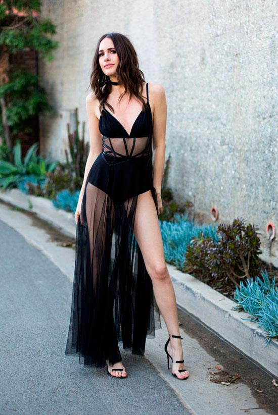 svart fisknät klänning sexig