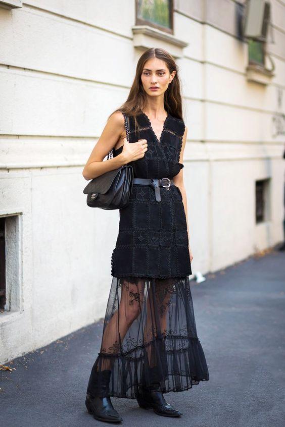 svart mesh klänning skräddarsydd