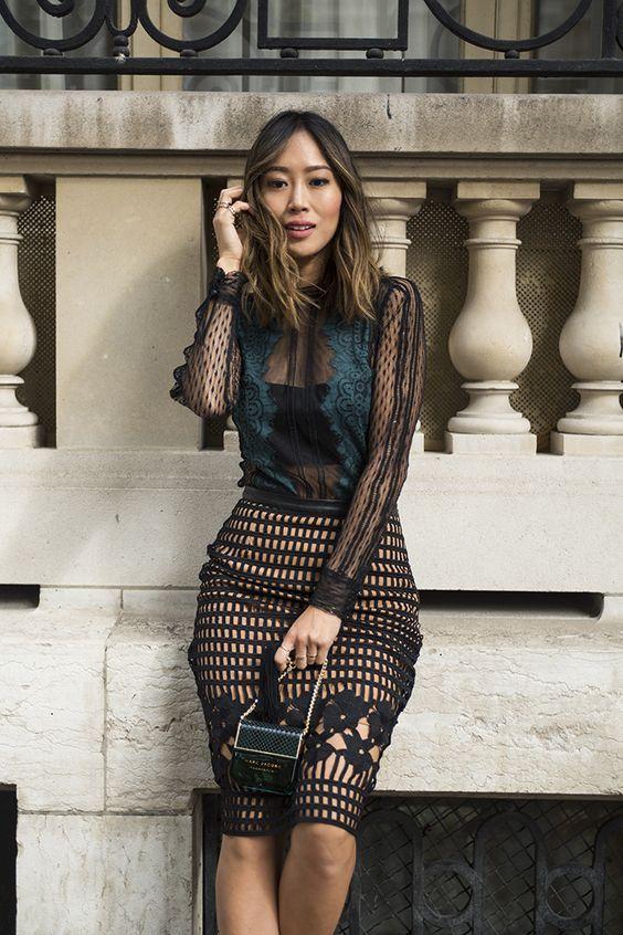 svart mesh klänning kombinerad