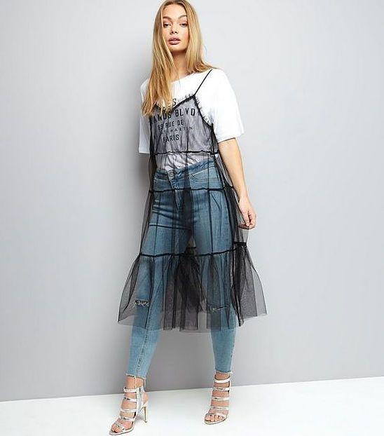 svart mesh klänning lager