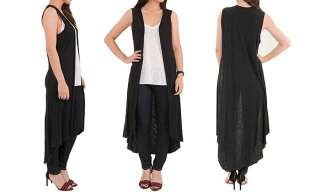 långärmad svartvit cardigan-outfit