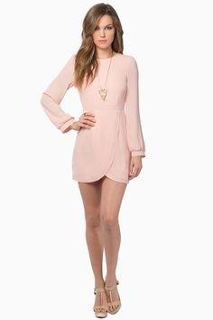 blekrosa långärmad minitulpanklänning