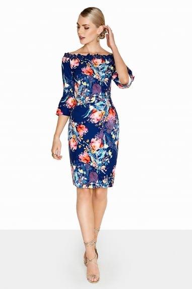 knälång klänning med mörkblått och orange blommigt tryck