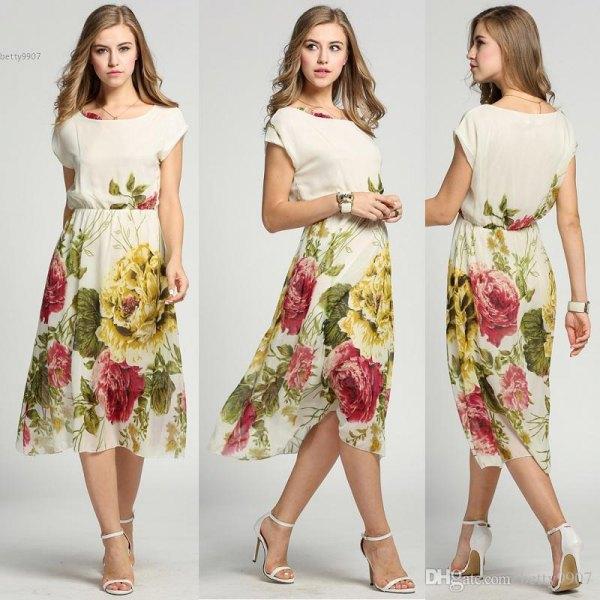 Ljusrosa passform och flare Midi Chiffon Hawaii klänning