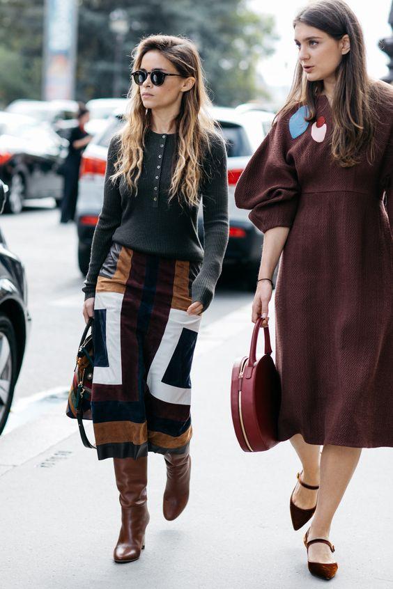 Mocka kjol patchwork midi