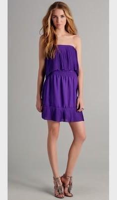 lila strapless ruffle axel miniklänning