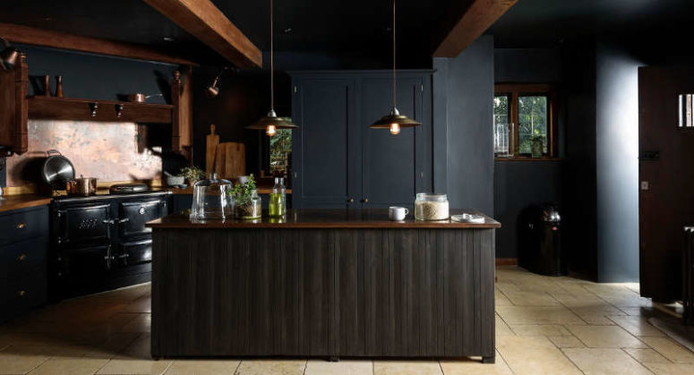 Dark And Atmospheric Vintage Moody Kitchen av deVOL - DigsDi