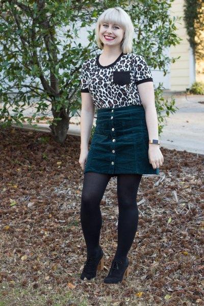 Leopardmönstrad t-shirt med minikjol