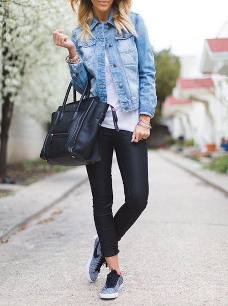 Jeansskjorta sport tights grå Nike sneakers