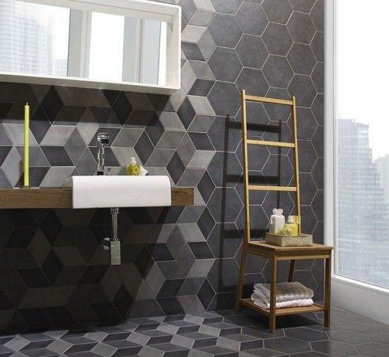 28 underbara moderna geometriska inredningsidéer för badrum |  Geometrisk.