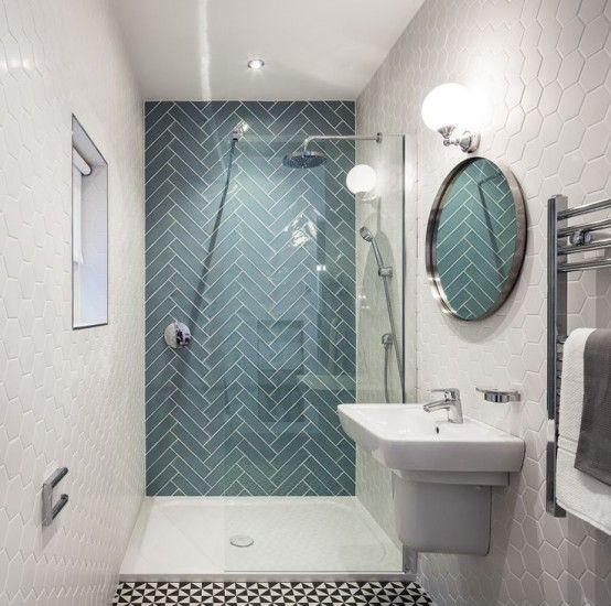 trevliga 35 underbara moderna geometriska inredningsidéer för badrum.