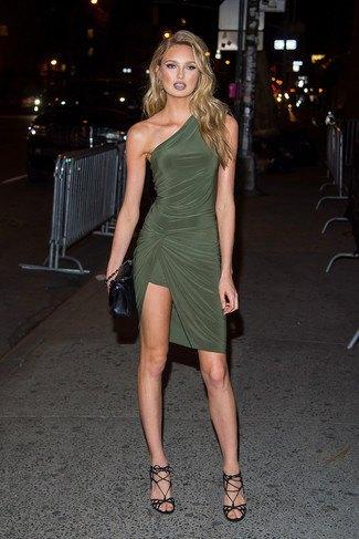 Olivgrön wrap-klänning med ena axeln