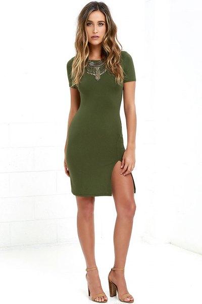 olivgrön bodycon klänning uttalande halsband