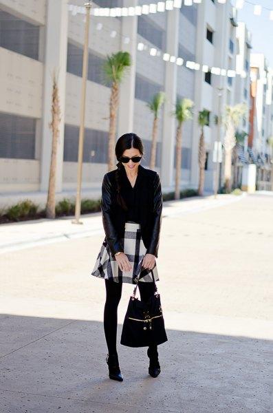 Svart och vit skater flanell kjol kofta