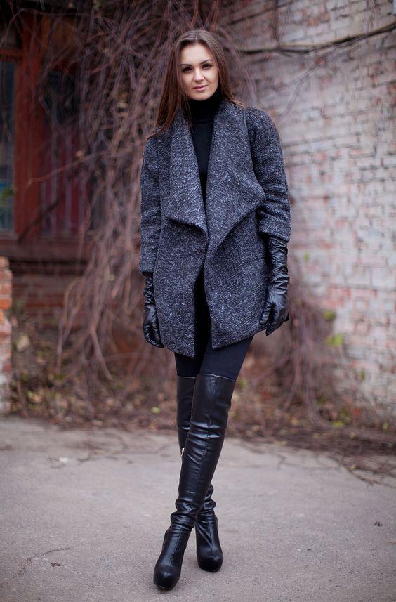 långa svarta handskar overknee stövlar