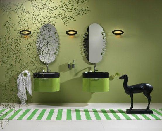 Ankita Kumari på |  Grön badrumsdekor, Gröna badrumsmöbler.