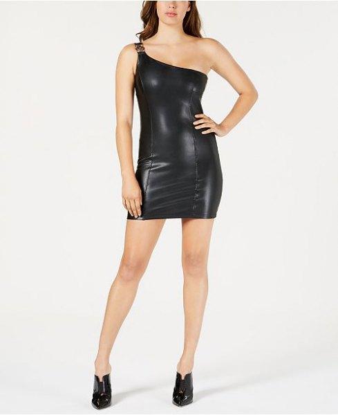svart, axelbandslös, figur-kramande miniklänning i syntetiskt läder