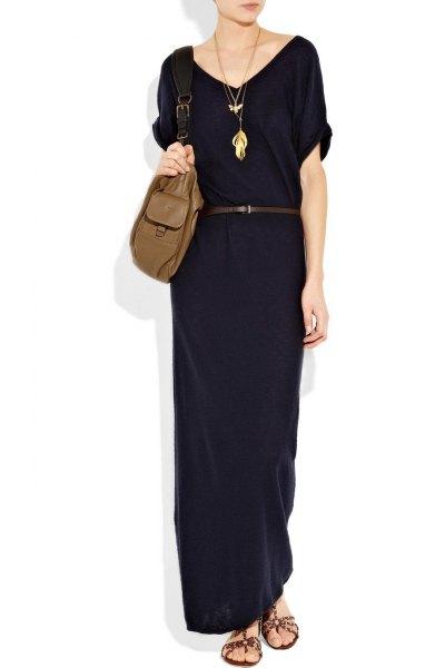 svart kortärmad skiftklänning i bomull med maxibälte