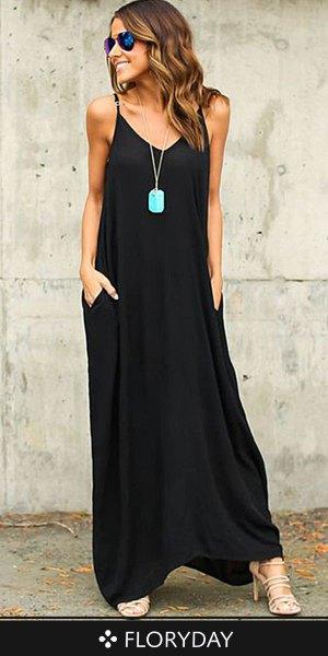 svart bomull maxiklänning med spagettirem