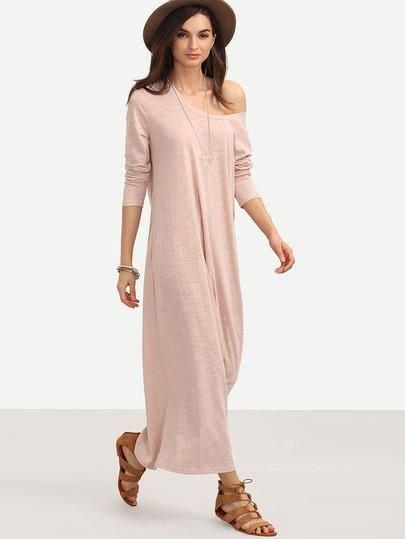 rosa axelbandslös maxiklänning med brun filthatt