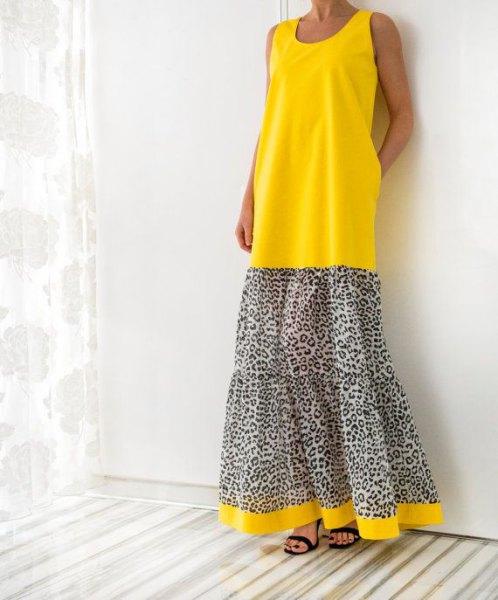 Färgblock maxiklänning med gult och leopardmönster