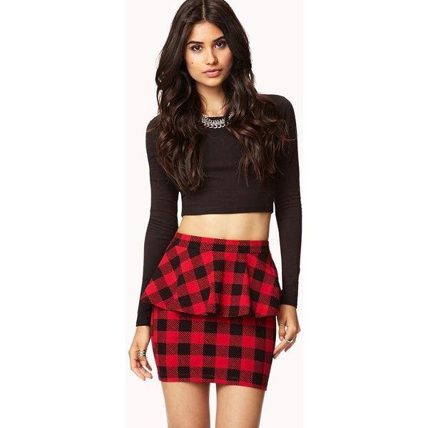 svart långärmad crop topp röd rutig peplum kjol