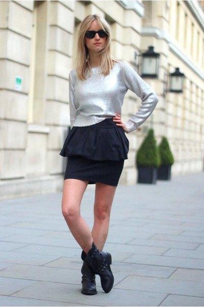 silvertröja svart minikjol